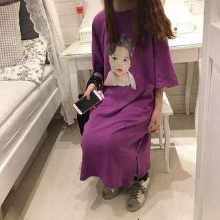 紫色長版T