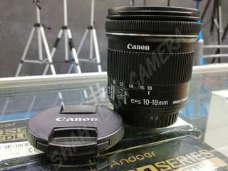 USED CANON EF-S 10-18MM F4.5-5.6 IS STM WIDE LENS.