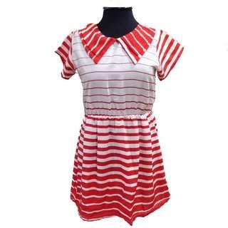 New:Petit Monde red orange striped dress