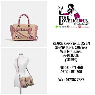 BLAKE CARRYALL 25 IN SIGNATURE CANVAS WITH FLORAL APPLIQUE COACH F31194