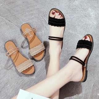韓版花邊兩穿涼拖鞋