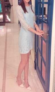 🚚 典雅顯白淺藍色蕾絲洋裝