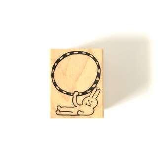 AIUEO rabbit wood rubber stamp
