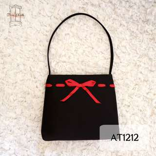 Black Mini Hand Bag with Red Bow