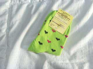 Cute Green Love Socks