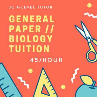 GP / BIO TUITION FOR JC ALEVELS ALEVEL A LEVEL