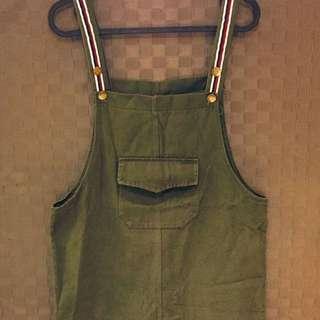 🚚 [二手]軍綠色吊帶裙