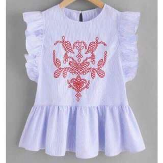 Embroidered Peplum Top