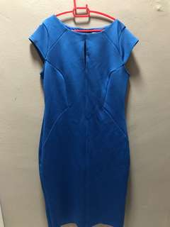 [UK16] Dorothy Perkins metallic blue midi work dress