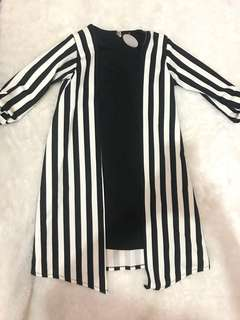 Black white stripes dress monochrome