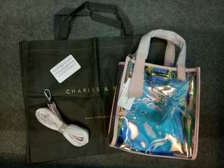 Authentic Charles & keith transparent sling bag