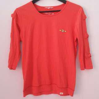 Surfer Girl Orange 3/4 Shirt