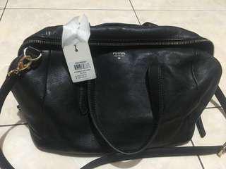 Sydney Satchel Sling Bag Black Fossil Bowler Genuine Leather