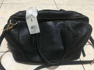Sydney satchel bag black fossil sling leather genuine