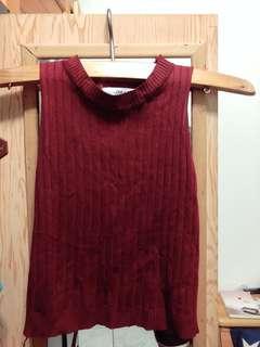 🚚 酒紅色無袖上衣