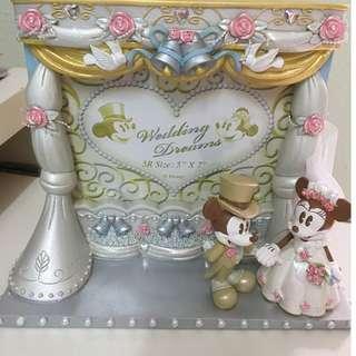 Disney 全新 Minnie and Mickey Mouse Wedding Photo Frame 5R 結婚相架 (有盒)