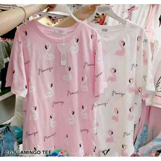 FLAMINGO TEE BAHAN BABYTERRY FIT TO L💜