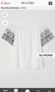 H&M White Top with embroidery