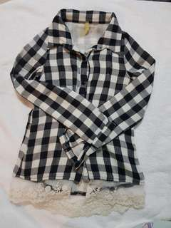 Bjewel Checkered Long Sleeve Polo with Lace Trim size 7