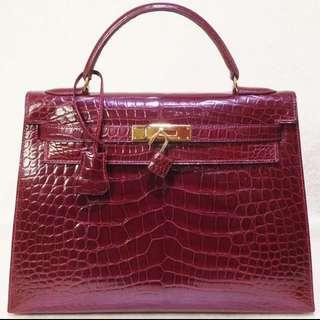 愛馬仕 Hermes Kelly 32 凱莉包 鱷魚皮 棗紅色 手袋 Alligator 金扣 包包