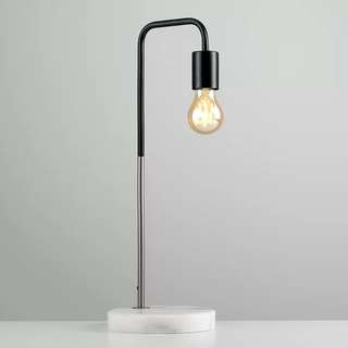 MiniSun Retro Style Black and Chrome Metal Table Lamp with a White Marble Base