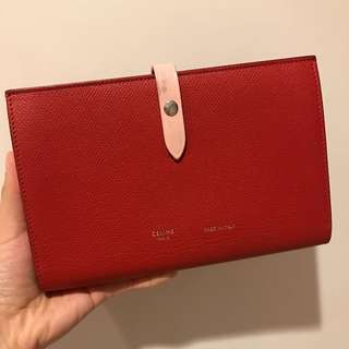 Celine Strap Large Wallet Red