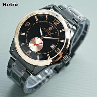 Rolex automatic tanpa batrey hitam ring gold