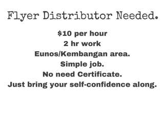 Flyer Distributor wanted