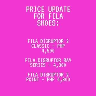 FILA SHOES PRICE UPDATE!