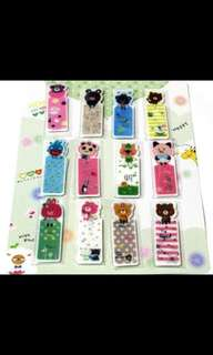 CUTE ANIMAL CHARACTERS PLASTIC BOOKMARKS SET 1 - 1 PACK OF 12 PCS OF ALL DIFFERENT DESIGNS @ $2 PER SET!!!