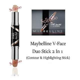 Highlight & Contour : Maybelline : Duo Stick : V Face : Medium Shade : Skin : Makeup : Cosmetics : Beauty : Tone : Contouring : Colour : Facial : Slim : Slimming : Shape : Contouring : Sellzabo