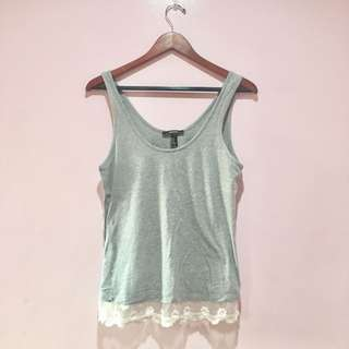Forever21 Lace Detailed Grey Top