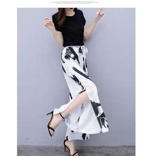 EE小舖~KT82010#韓版顯瘦短袖T卹+雪紡闊腿褲時尚氣質套裝
