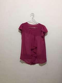 Fuchsia chiffon blouse