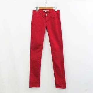 🚚 美國時裝品牌 FOREVER 21 美國製造 法拉利紅 彈性面料 修身剪裁 休閒長褲 25號