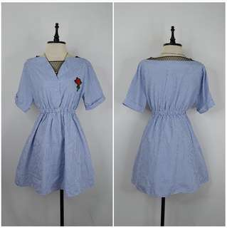 Light Blue Dress with Floral Patch