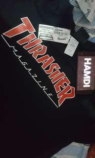 Thrasher black red flame size L
