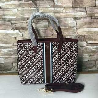 Free Ship Tory Burch Gemini Link Water Resistant Tote Handbag Shoulder Bag Brown