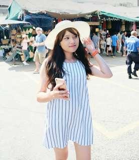 Dress bangkok biru putih stripes
