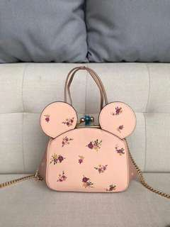 AUTHENTIC COACH X- DISNEY KISSLOCK BAG WITH FLORAL MIX PRINT MINNIE MOUSE EAR