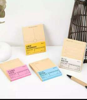 🚚 4 x Planner Sticky Memo Pad (Brown Paper Post-it)