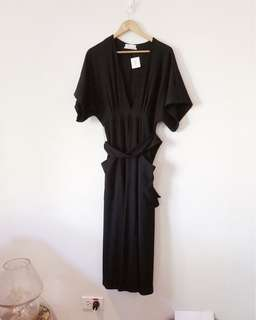 Brand New Urban Outfitters Black Ribbed Dress with Belt