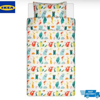 IKEA LATTJO Quilt cover and pillowcase, animal, multicolour