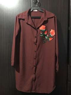Maroon dress with Patch