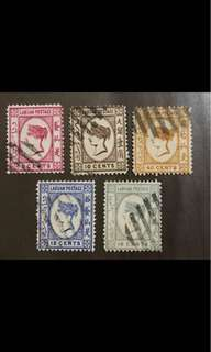 Malaya Labuan Queen Victoria stamps 5v used