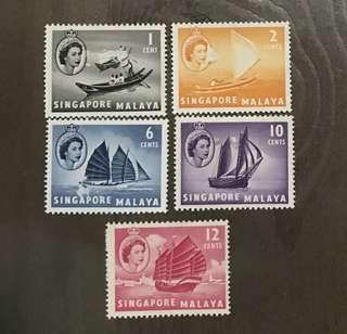 Singapore straits 1955 Queen Eliz 5v Mint stamps (damaged surface)