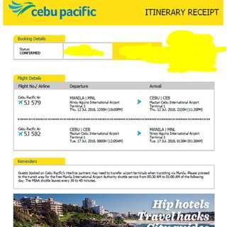 July MNL-CEB Roundtrip Tickets
