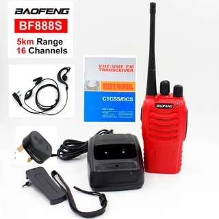 🚚 NEW STOCK!!!! Red BaoFeng 5W BF-888S Walkie Talkie UHF: 400-470MHz Two Way Radio, red export set, long range