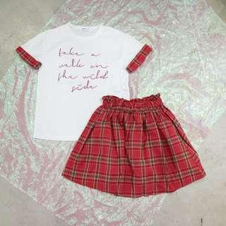 兩件式套裝格子手袖英文短t+格子短裙