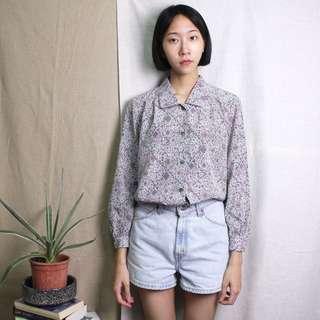 古著 粉紫拜占庭花紋襯衫